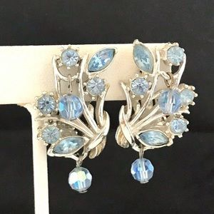 Vintage Coro Earrings Blue Crystals Clio 2H